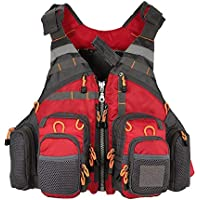 COEWSKE Chaleco de Pesca Multi-Bolsillo Transpirable Pecho Paquete Mochila para Hombres y Mujeres Fotografía de Caza al Aire Libre de Acampada (Rojo)