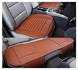 GUOCU Weich Sitzauflagen Auto Autositzberzüge Sitzkissen Auto Sitzauflagen für Auto Vordersitze mit PU-Leder,Orange,Vordersitz & Rücksitz