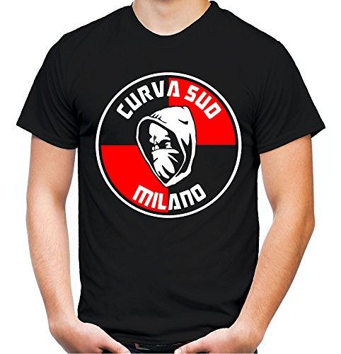 Curva Sud Milano Männer und Herren T-Shirt | Fussball Kleidung Geschenk | M2 (L, Schwarz)