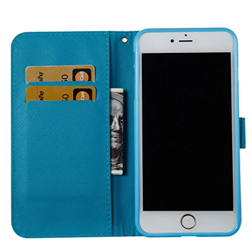"Apple iPhone 6 Plus / 6S Plus 5.5"" Hülle, SATURCASE Schönes 3D Muster PU Lederhülle Ledertasche Magnetverschluss Flip Cover Brieftasche Case Handy Tasche Schutzhülle Handyhülle Hülle mit Standfunktion Muster-13"