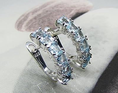 Boucles d'oreilles Dormeuses Topazes Bleues Argent 925 Rhodié