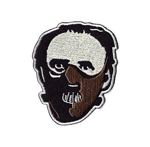 Dr Hannibal Lecter Maske Patch Nähen oder Bügeln bestickt auf Badge Aufnäher Schweigen der Lämmer Red Dragon Horror Film Souvenir Kostüm Retro