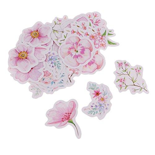 Homyl 45 Stück Blumen Sticker Blumen Wandsticker Aufkleber Wandtattoo Dekoration - Sakura