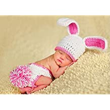 Baby's Easter Bunny Rabbit Crocheted/Knitted Costume Photo Shoot White Pink