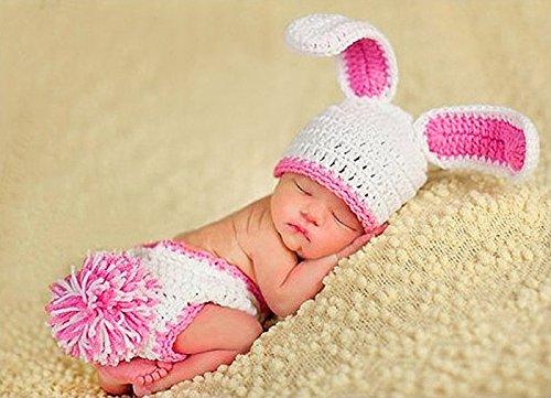 Disfraz de ganchillo para bebé disfraz fotos de punto para bebé de colour blanco con diseño de conejo de Pascua - Colour rosa