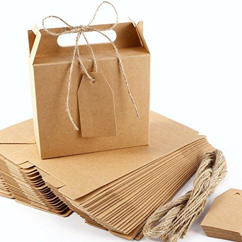 Anladia 25x Hochzeit Party Gastgeschenk Kraftpapier Bonboniere Box Geschenkbox Geschenkschachtel Kartonage Geschenkkarton Aufbewahrungsbox Geschenkverpackung mit Geschenkanhänger