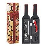 Weinöffner-Set, 5-teiliges Deluxe Weinzubehör-Set mit lustigen, statisch haftenden, wiederverwendbaren Glasstickern in Geschenkverpackung, Red / Black (With Glass Paint Marker), Gift Set 2 (with Drink Markers Stickers)