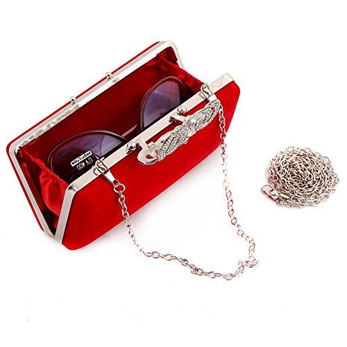 ERGEOB® Donna Clutch flanella Clutch Perle sacchetto di sera frizione per Party Festa matrimonio rosso