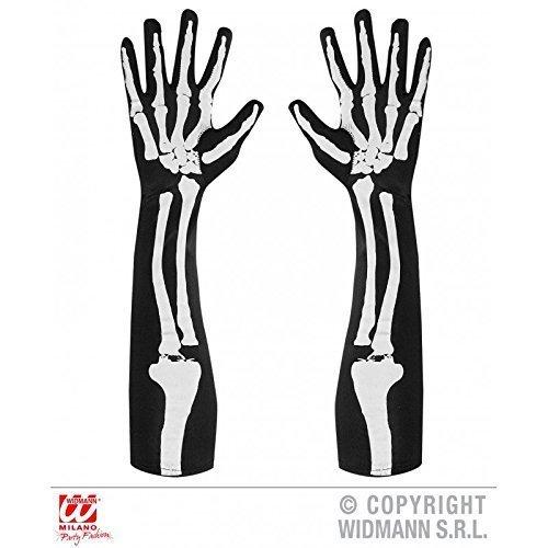 chuhe Skelett mit Knochenaufdruck ca. 50 cm beidseitig bedruckt / Skeletthandschuhe Halloween / Skelettkostüm Zubehör (Skelett Handschuhe Knochen)