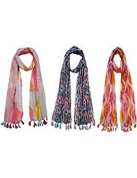 Printed Designer Poly Cotton Set of 3 Mullticoloured stoles ; Trendy scarf stoles dupatta for Girls/Ladies/Women (F0162)