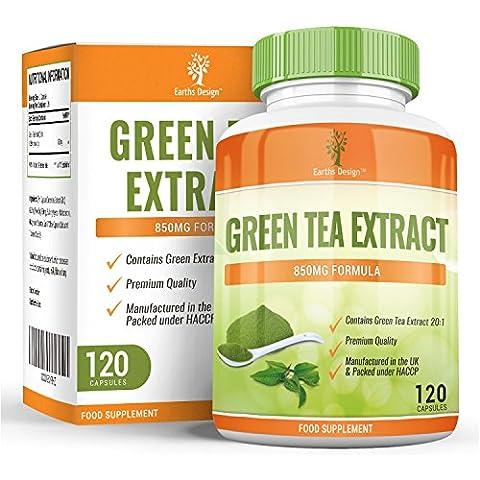 Extracto de Té Verde para dietas de adelgazamiento. Cápsulas de Té Verde de 850mg con EGCG para quemar grasa. Suplemento de concentración máxima para perder peso. Potente antioxidante – 120 cápsulas