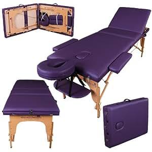 Table de massage pro luxe - Massage Imperial - Portable - Plateau 3 Pièces - Panneaux Reiki - Légère - Couleur : Violet
