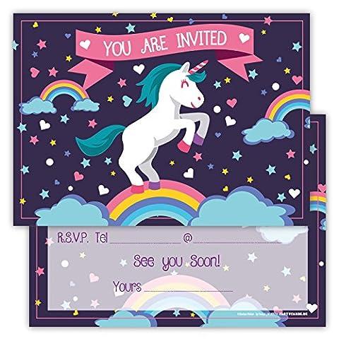 Funny Birthday Invitations Pack of 12 Cards for Boys Girls Kids Birthday Unicorn Rainbow Clouds Stars Emoji Postcard Invitations Greetings fill-in
