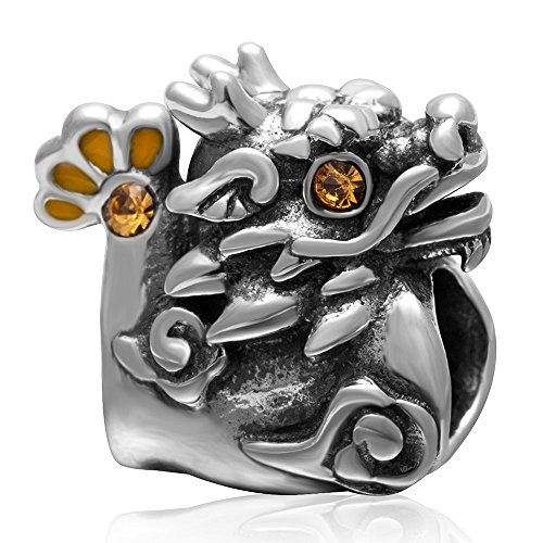 Dragone Cinese, con cristalli topazio con Charm in argento Sterling 925per braccialetto grande marchio europeo