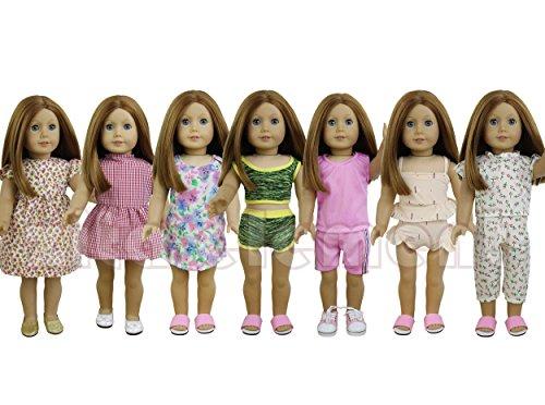 ZITA ELEMENT 7 set Daily Casual Kleidung/Outfits für American Girl Puppe,für 45-46 cm 18 Inch Doll Puppen 15-puppe Kleidung Für Die American Girl
