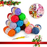 Fil à Tricoter, Fixget 12PCS X 50g Lot de fil à tricoter en acrylique ultra doux, Kit de fils artisanaux au crochet et à tricoter en couleurs assorties, Bonus avec 2 crochets au crochet (1200M)...