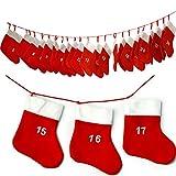 JEMIDI Adventskalender Kette Adventskette XL XXL zum befüllen Selbstbefüllen Große Säckchen (.und jedes Jahr wiederverwendbar!!!)