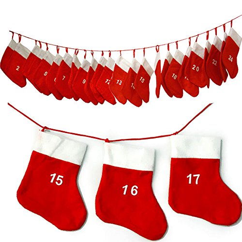 JEMIDI Adventskalender Kette Adventskette zum befüllen Selbstbefüllen (.und jedes Jahr wiederverwendbar!!!)