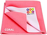 BeyBee Waterproof Baby Bed Protector Dry Sheet for Born Babies (Small (50cm X 70cm), Salmon Rose)