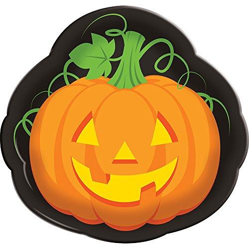 Creative Converting 32437012Stück Halloween Kunststoff Serviertabletts, Kürbis Gesicht