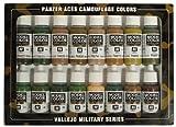 Vallejo USA Coffret de 16pots de peinture acrylique pour modélisme Camouflage pour tanks panzer Couleurs assorties