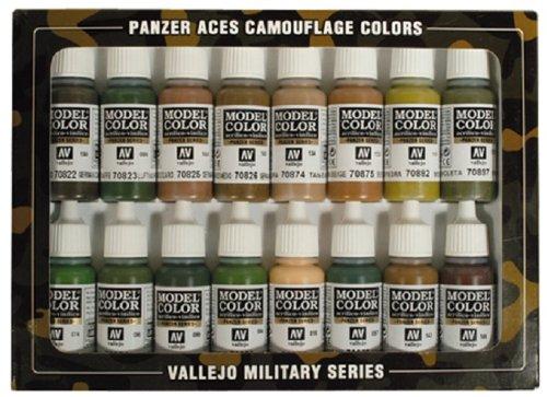 Vallejo 070179 - Farbset, Panzer-Aces Tarnungen, 16 x 17 ml (Panzer Die Deutsche Modell)