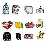 MWOOT 12 Pezzi Carino Spilla di Smalto con Lettere,Spille Smaltate Badge Set per Vestiti Borse Giacca Accessori Decorazione di DIY Artigianato