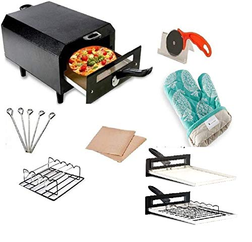 Bright Berg Electric Tandoor with Pizza Cutter,Recipe Book,Nonstick Sheet,Grill,4 Skewers,Glove (Size Micro)