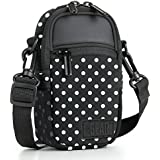 Compact Point And Shoot Camera Case Polka Dot Sling Bag With Rain Cover, Accessory Pockets And Shoulder Strap By USA Gear- Works W/Olympus Pen-F, Stylus SH-3, Tough TG-870, Canon PowerShot ELPH & More