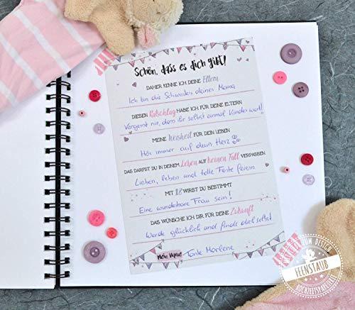 10 Gästebuch-Karten für Babyparty Baby-Shower Taufe zum Ausfüllen mit Ratschlägen Wünschen rosa