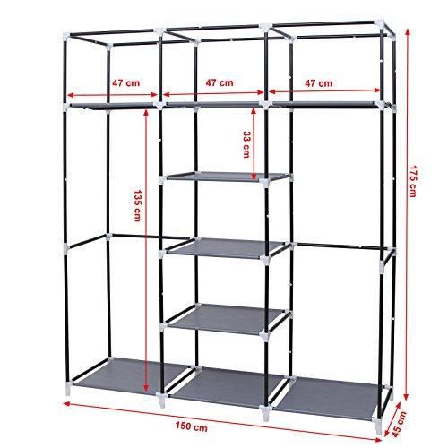 51v2W%2BUcMNL. SS500  - SONGMICS Canvas Wardrobe Bedroom Furniture Cupboard Clothes Storage Organiser Gray 175 x 150 x 45 cm RYG12G