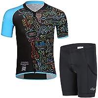 LSHEL Maillot Ciclismo Niños, Ropa Ciclismo y Culotte Ciclismo con Culotte Pantalones Acolchado 3D para Deportes al Aire Libre Ciclo Bicicleta