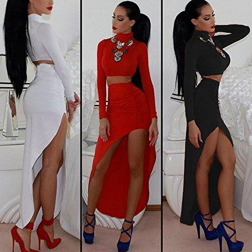 Qissy® Femmes Sexy Deux Pièces Bandage irrégulier Moulante Manches Longues Parti Crayon De Clubwear De Soirée Robe De Cocktail Noir