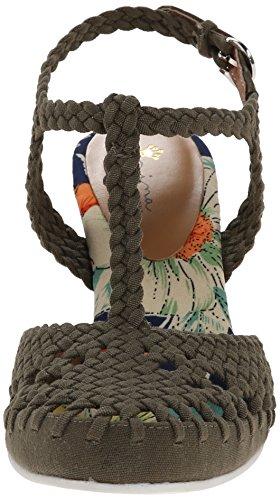 Nina Matrix Leinwand Keilabsätze Sandale Kaki