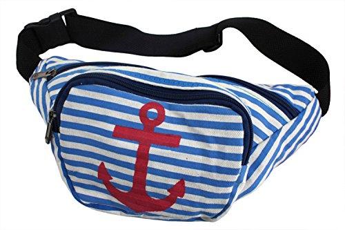 Sonia Originelli Bauchtasche Anker Stern Maritim Stern Streifen Strand Tasche Geldbeutel LGT008 (Stern grau-rosa) Anker blau-rot