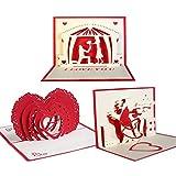 Pop-up-Karten,Beetest 3pcs 3D Papier geschnitten gefaltet Pop-up Gruß Danksagung Karte Einladungskarten Valentinstag Geburtstag Geschenke Handwerk Postkarte