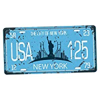 LOVIVER America State Car License Theme Metal Tin Sign Wall Plaque Bar Pub Man Cave - 17 State to choose - New York City