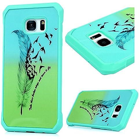 Custodia Samsung Galaxy S7Edge(No per Samsung Galaxy S7) Silicone TPU Cornice verniciato + fondo PC, Badalink Colore Modello Design Magnete ventosa magnetica,non supporta apparato di erogazione,uccelli piuma