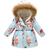 Kinder Mäntel Sunnydrain Kinderjacken Hoodie Floral Fleece A-Line Reißverschluss Lose Winter Warm Herbst Kapuzen Outerwear Baumwolle Ärmellose