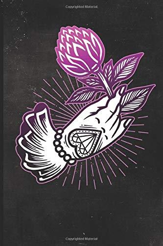 Journal: Hand Holding Flower Tattoo Design Dot Grid Tattoo Flash Sketching Journal (Sailor Jerry Flash)
