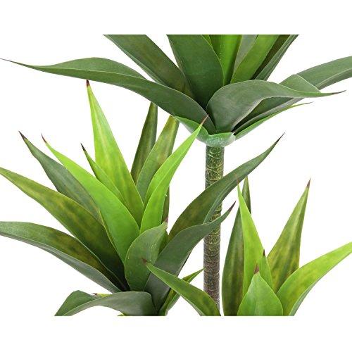 artplants Künstliche Yucca Palme mit 39 Blättern, 3-stämmig, grün, 125 cm, wetterfest – Kunstpflanzen Yucca/Kunstpalme