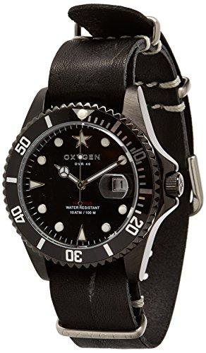 OXYGEN - EX-D-MBB-40-NL-BL - Montre Mixte - Quartz - Analogique - aiguilles luminescentes - Bracelet Cuir Noir