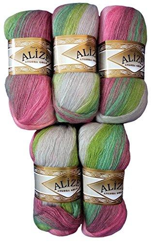 5 x 100 g Alize Strickwolle Farbverlauf rosa grün taupe Nr. 4686 zum Stricken und Häkeln, 500 Gramm Wolle mit Mohair