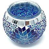 Orientalische Teelichtglas 100% Handgearbeitet 9x10cm Türkisch Windlicht Kerze Einzelstück Teelicht Rund Mosaik Glas Unikat Blau