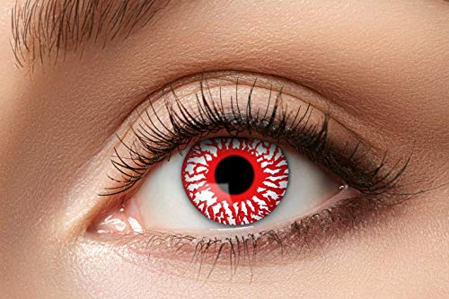 Zoelibat Farbige Kontaktlinsen für 12 Monate, Bloodshot, 2 Stück, BC 8.6 mm / DIA 14.5 mm, Jahreslinsen in Markenqualität für Halloween, Fasching, Karneval, rot