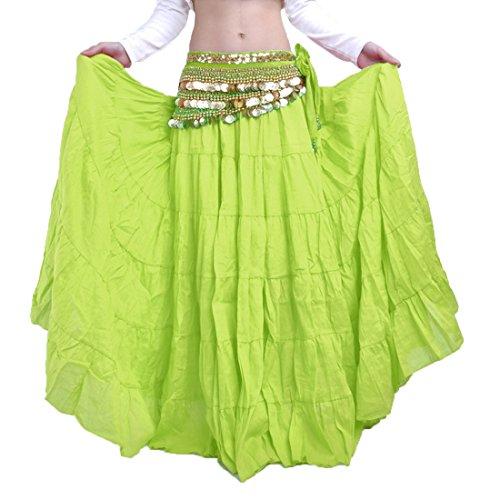 Green Kostüm Gypsy - Calcifer Elegant Leinen Gypsy Swing Bohemian Bauch Dance Rock kostüm Dancing Kleid für Frauen Professional Tänzerin, Fruit Green