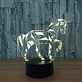 OOFAY LIGHT® 3D LED Nachtlicht Lampe Pferd optische Täuschung 7 Farbwechsel mit Acryl-Wohnung, ABS-Kunststoff-Basis, USB-Ladegerät Tisch Schreibtisch Schlafzimmer Dekoration Licht