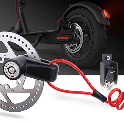 TOMALL Bloqueo de Freno de Disco Cable de Acero antirrobo para Xiaomi Mijia M365 Motocicleta Ruedas Taquilla con recordatorio Cuerda
