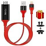 Lightning vers câble HDMI Mrli 1080p vidéo HDMI AV connecteur de câble 2m Digital AV Adaptateur HDMI pour iPhone X/8/7/6/5Série iPad sur votre téléviseur HD Vidéoprojecteur (nouvelle génération Rouge)