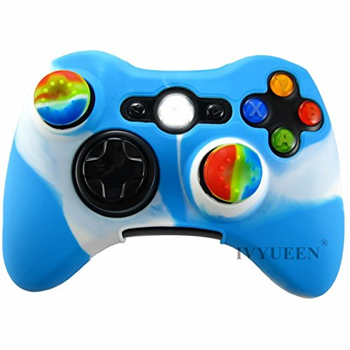 Veena Blue White : IVYUEEN Soft Silicone Protective Skin Case Cover for Microsoft Xbox 360 Wireless / Wired Controller + Thumbsticks Caps Grips